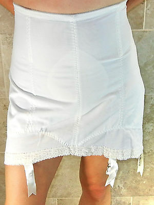 Subtract Vintage Sexy Plus Size White Boned Open Bottom Girdle 6 Garters 44 Nwot