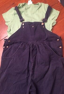 Dan Howard~Blue Cotton Bib Overalls- Size Maternity Extra-Small (XS) + T-Shirt