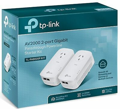 TP-Link TL-PA9020P KIT AV2000 PowerLine Ethernet Network Adapter Range Extender