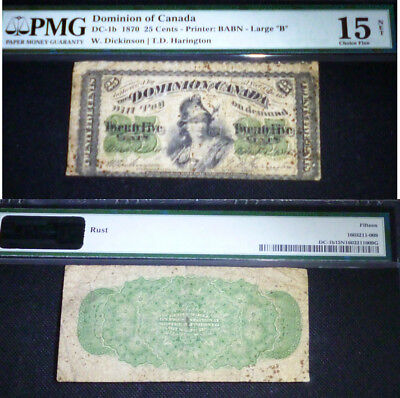 "25 Cents Dominion Of Canada 1870 Large ""b""  Pmg 15"