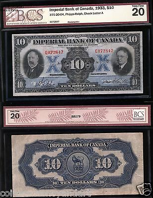 1933  $10 Imperial Bank Of Canada Banknote