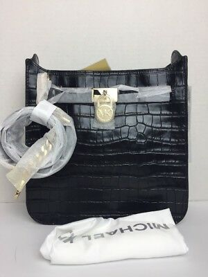 e82e9e1cec7d53 NWT Michael Kors Hamilton Croc Leather Medium Messenger Bag $298 Black