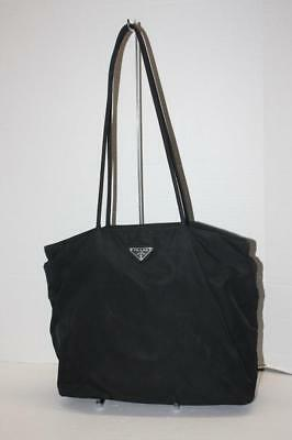 ea29295fbf AUTHENTIC PRADA BLACK Nylon Shoulder Bag Tote handbag purse VINTAGE ...