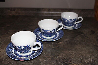 Churchill Blue Willow Pattern 3 Sets Tea Cups & Saucers made in England