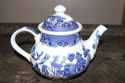 Churchill Blue Willow Pattern Teapot with Lid Tea Pot made in England