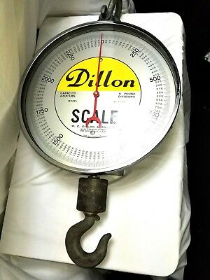 DILLON S-2500 HANGING CRANE SCALE, 2500 lbs Capacity, 1.25 US Ton
