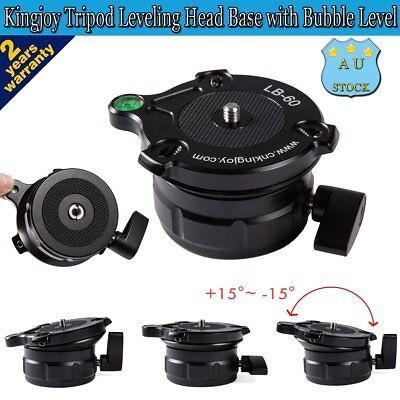 "Kingjoy LB-60 Tripod Leveling Head Base with Bubble Level with 1/4"" 3/8"" Thread"