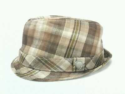 aca89884361 BEN SHERMAN Fedora Hat Brown Beige Plaid Fully Lined Men s Small Medium NICE