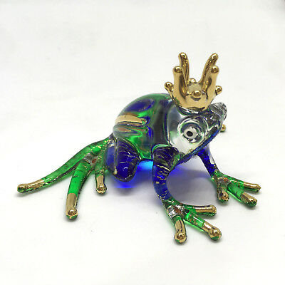 Miniature Glass Frog Figurine Hand Blown Art Toad Frogs Murano Vintage Style