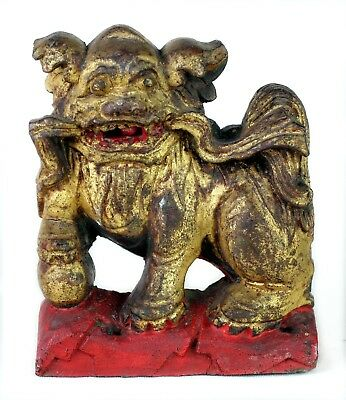 Fine 1900s Antique Chinese Hand Carved Wood Temple Foo Dog Lion Gilt Red Statue