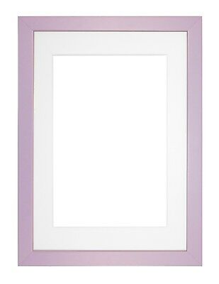 Premium Wood Picture Photo Frame Rainbow Range-Bespoke Mount Navy Blue & Lilac