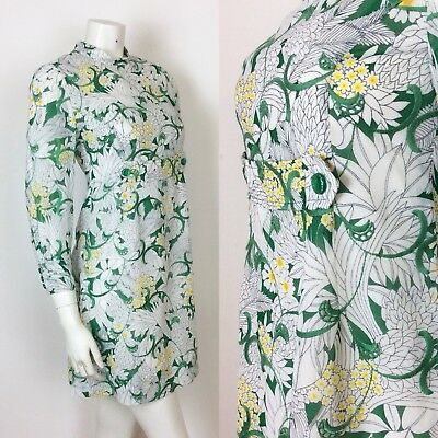 Vintage 1960S White Green Yellow Embroidered Floral Mini Dress 8 10
