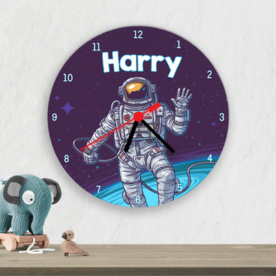 Space Astronaut Kids Children's Wall Clock Personalised Boys Bedroom Clock