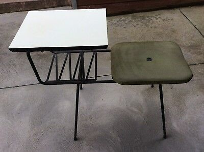 Mid Century Vintage Retro Telephone Table Shelf Bench chair Seat