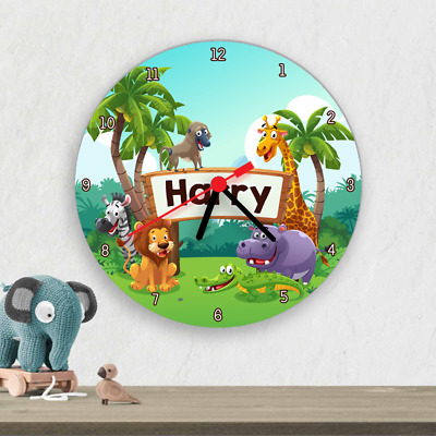 Safari Animals Zoo Kids Children's Wall Clock Personalised Bedroom Nursery Clock