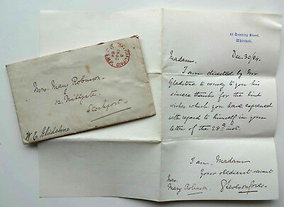 Letter from W.E Gladstone, 10 Downing Street with cover dated 1884