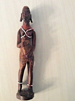"""African Folk Art Carved Tribal Hand Painted Woman With Beads 9"""""""