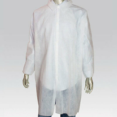 Royal X-Large White Poly Pro Disposable Lab Coats, Case of 30, LC0-ENW-XL