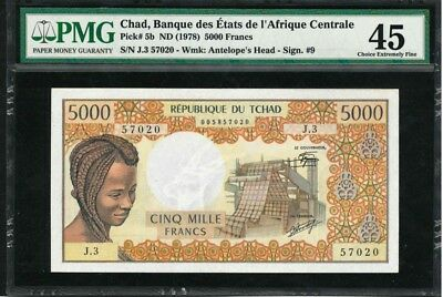 Chad 5000 FRANCS 1978 / PMG-45 EXTREMELY FINE VERY RARE