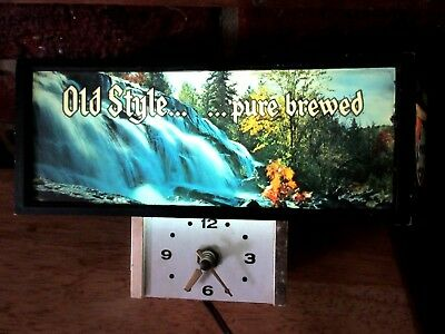 Vintage Old Style Beer Lighted Counter Sign Clock Advertising Waterfall