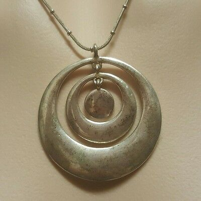 WOMENS VINTAGE silver triple circle PENDANT + adjustable NECKLACE! Lovely!