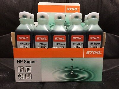 10 x 100ml GREEN STIHL HP SUPER 2 STROKE OIL PART SYNTHETIC 1 ONE SHOT STHIL