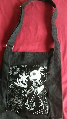 The Nightmare Before Christmas Grey/black/vinyl Side Bag-Jack Skellinghton