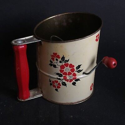 Vintage Kitchen Metal Flour Sifter with Wooden Handles Hall's Red Poppy Pattern