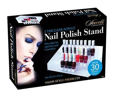 3 Tier Nail Polish Varnish Clear Acrylic Stand Display Holder Holds 30 Bottles