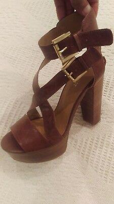 Nine West Campallo Brown Leather Ankle Strap Open Toe High Heel Platform Sandals