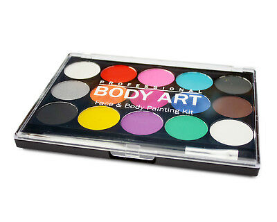 Face & Body Paint Palette Set - 15 Colours - Professional Face Paint Make Up Kit