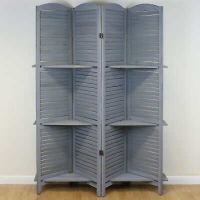 Grey Shabby Chic 4 Panel Wooden Slat Room Divider/Privacy Screen Display Shelves