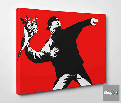 Quadro Bansky Love is in the Air - Flower Thrower Stampa su Tela effetto Dipinto