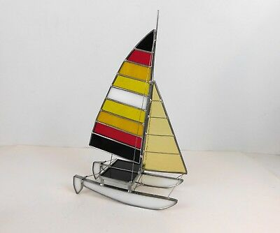 3D Stained Glass Sailboat Sun Catcher Sail Boat Freestanding