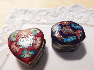 Vintage Chinese Export  Cloisonné Enamel 2 SMALL Pill Trinket Snuff Boxes (B)