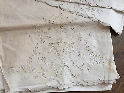 Vintage MADEIRA HAND EMBROIDERED BED SHEET Full Size with PILLOWCASES Unused