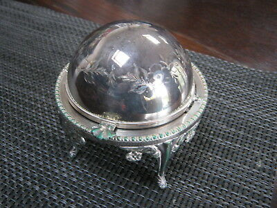 Vintage Caviar / Butter Dish Roll Top Silver Plated England Downton Style