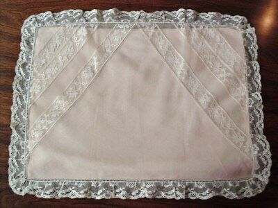 Antique French Normandy Lace Net Tulle Pillow Case & Pink  Pillow Case 2 pieces