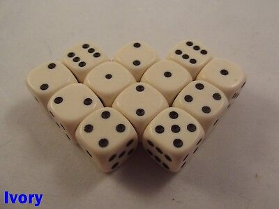 Opaque Dice Dotted 12x 12mm D6 Ivory Table Top Gothic War Gaming Fantasy 40000