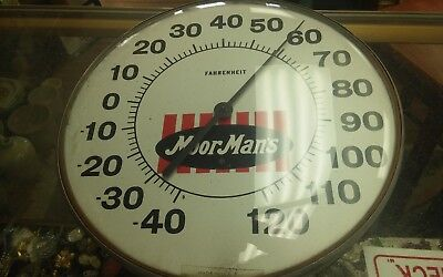 """Vintage Moorman's Thermometer 12"""" Round Working Feed Advertising"""
