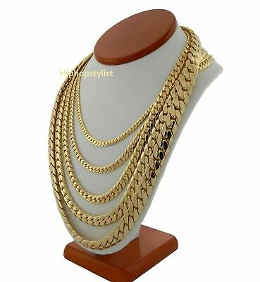 Men's Miami Cuban Link Chain Necklace Bracelet 14K Gold Plated
