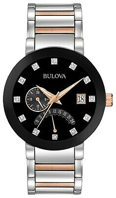 Bulova Men's Black Dial Two Tone Silver/Rose Gold Tone Bracelet Watch  98D129