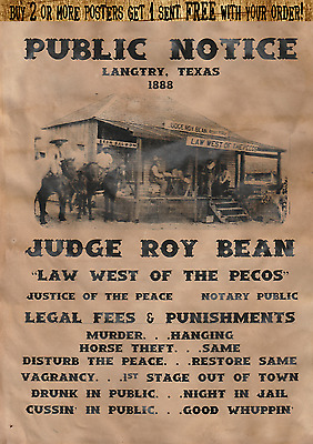 Old West Wanted Poster Bean Judge Law Texas Pecos Outlaw Earp Ringo Ok Corral