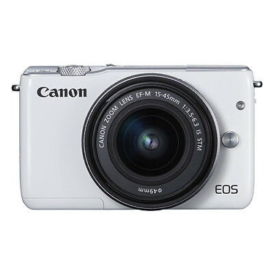 Canon EOS M10 Mirrorless Digital Camera with 15-45mm EF-M IS STM Lens White