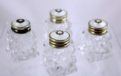 Set of Four Norway Sterling Silver & Guilloche Enamel Cut Crystal Salt Shakers