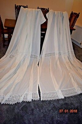 MASSIVE PAIR OLD FRENCH LACE CURTAINS EACH 100 ins long 120 ins wide
