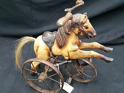 Antique Hand Carved Horse on a Brass Tricycle Toy