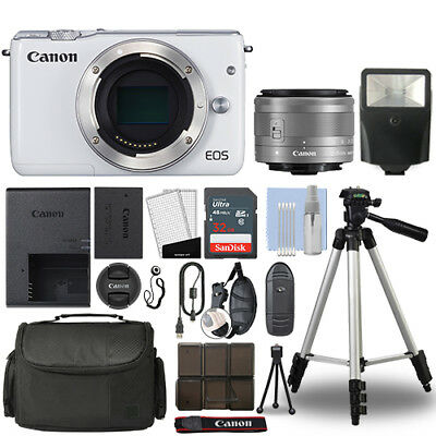Canon EOS M10 Mirrorless Digital Camera with 15-45mm STM Lens White+ 32GB Bundle