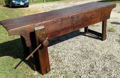 Carpenter's Wood Work Bench or Kitchen Island with Wooden Screw Vise Circa 1890