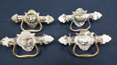 Architectural Salvage Brass Lion Head & Leaf Design Drawer Pull Handles Set of 4